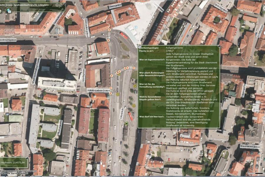 Am Beispiel des Griesplatzes werden die Spielregeln des öffentlichen Raums der Stadt Graz erklärt