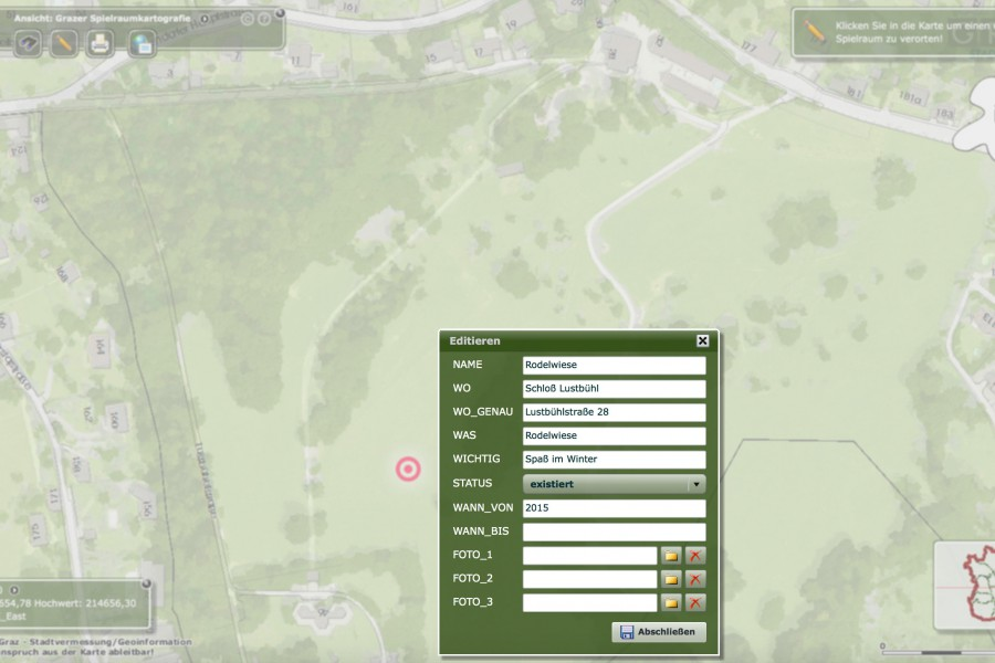 Das zweite interaktive Tool ermöglicht das Eintragen des eigenen Spielraum-Lieblingsortes in der Stadt Graz- wie das genau funktioniert, sehen Sie in der Anleitung