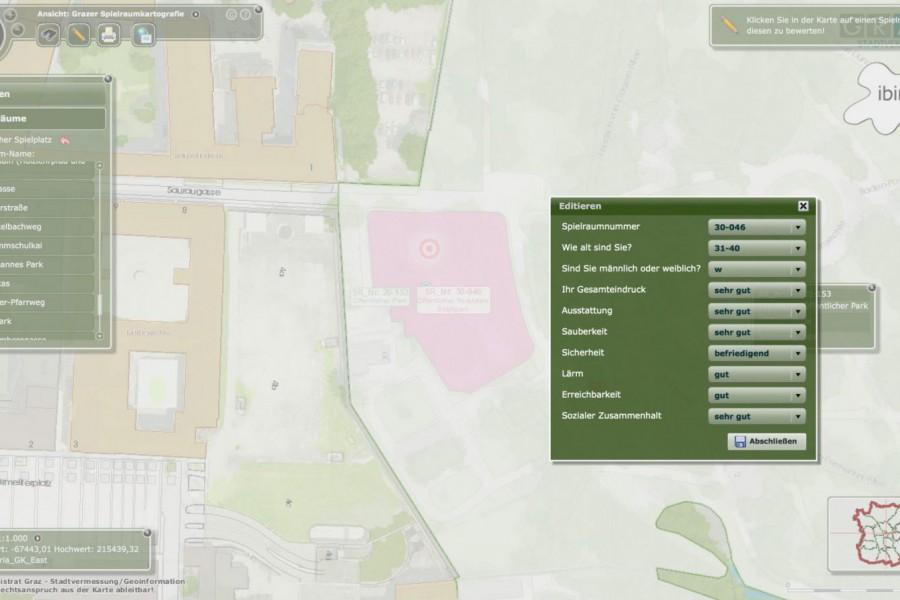 Das erste interaktive Tool ermöglicht ein Bewerten der eingezeichneten Spielräume - wie das genau funktioniert, sehen Sie in der Anleitung